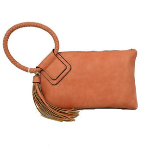 Bangle wristlet with tassel - peach