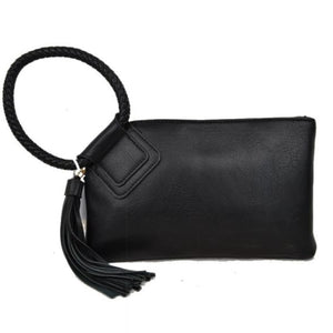 Bangle wristlet with tassel - black