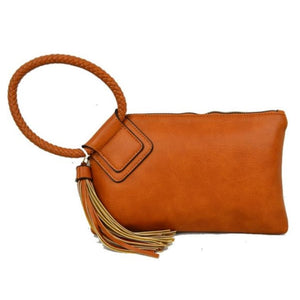 Bangle wristlet with tassel - brown