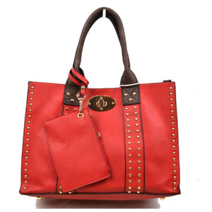 3 in 1 Studded turn lock tote - red coffee