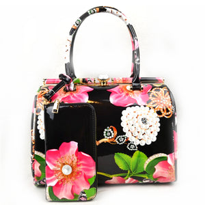 Glossy floral print hardcase tote with wallet - black