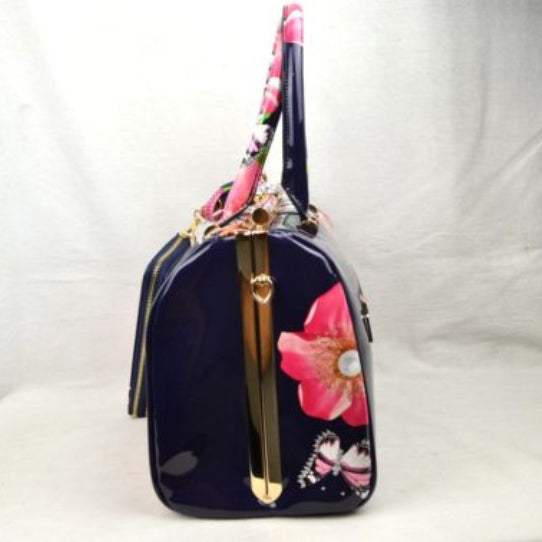 Glossy floral print hardcase tote with wallet - navy blue