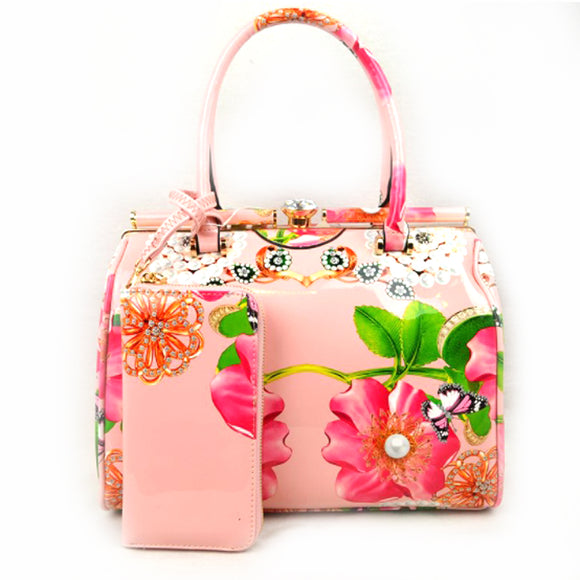 Glossy floral print hardcase tote with wallet - blush
