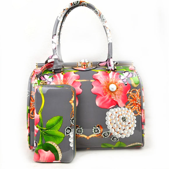 Glossy floral print hardcase tote with wallet - grey
