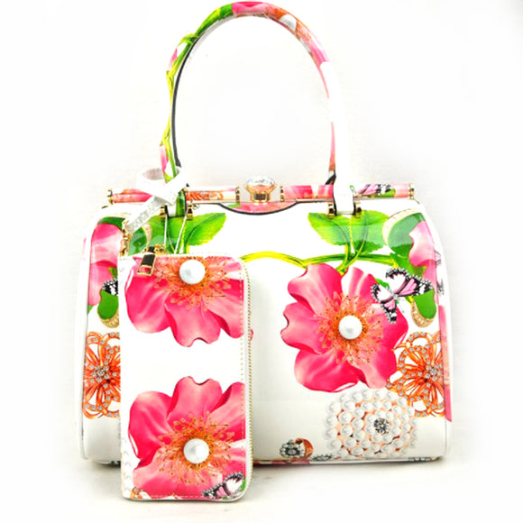 Glossy floral print hardcase tote with wallet - white