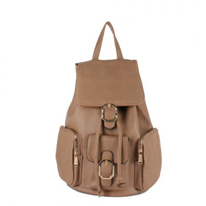 Decorated belted backpack - soil