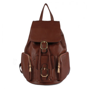 Decorated belted backpack - coffee