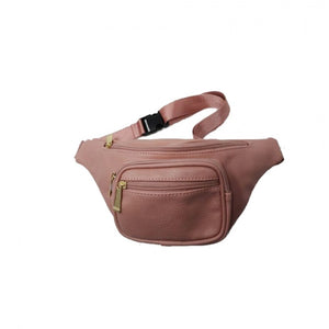 Zipper belt bag fanny pack - dark pink