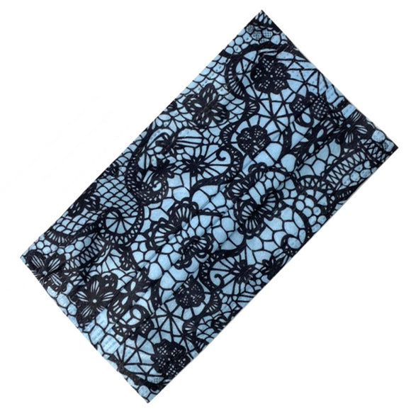 [50 PC] Lace printed disposable mask - blue