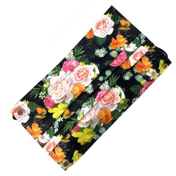 [50 PC] Floral printed disposable mask - black