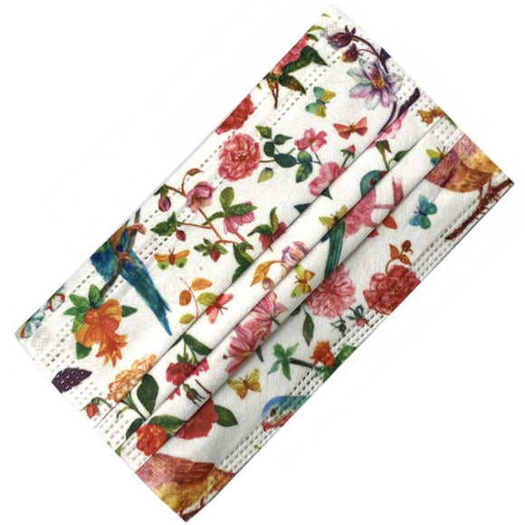 [50 PC] Floral printed disposable mask - white