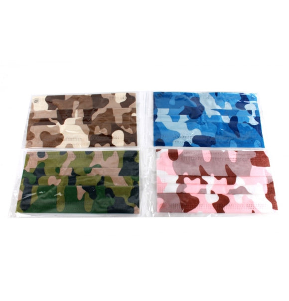 [50 PC] Disposable 3ply mask - mix camo