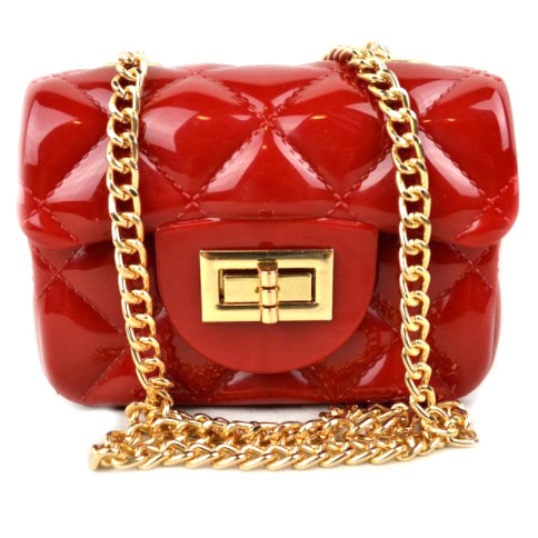 Quilted jelly chain crossbody bag - red