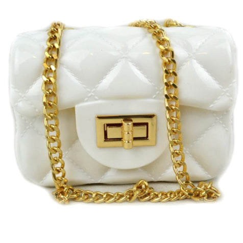 Quilted jelly chain crossbody bag - white