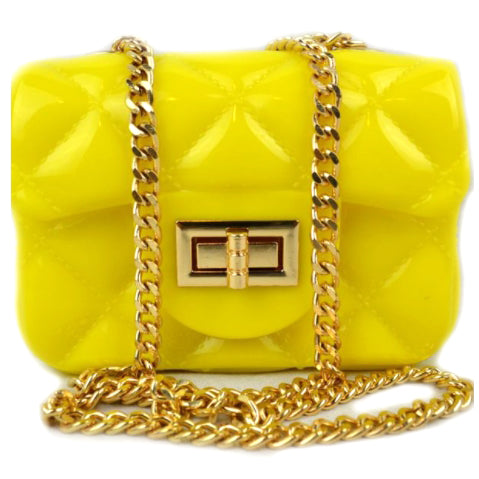 Quilted jelly chain crossbody bag - yellow