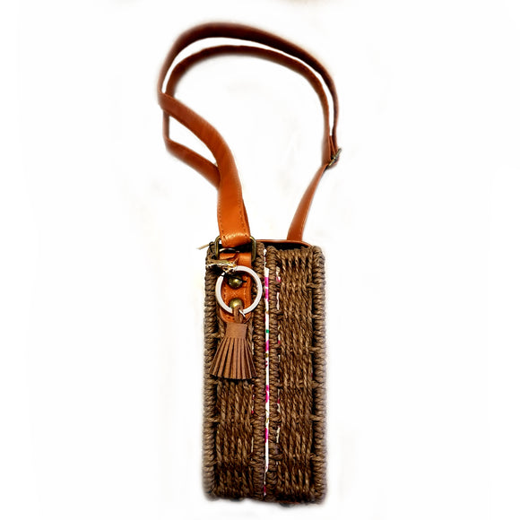 Rattan crossbody bag - brown
