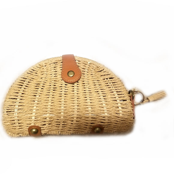 Half moon rattan crossbody bag - llight brown