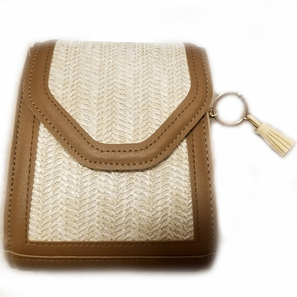 Raffia & leather chain crossbody bag - natural