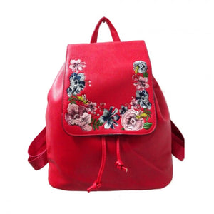 Floral embroidered backpack - red