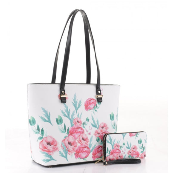 Floral print tote with wallet set - black