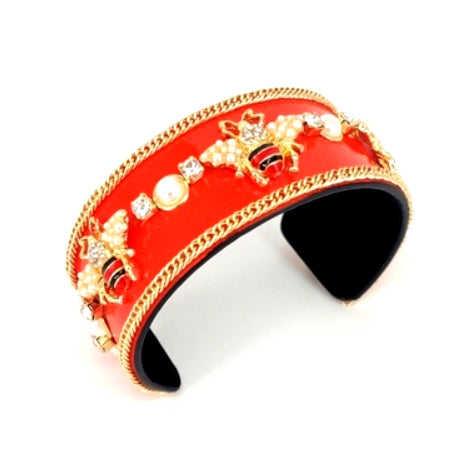 [6pcs] Queen bee enamel coated chain cuff - red