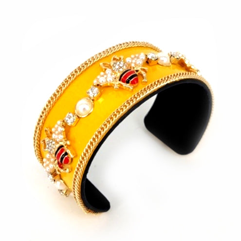 [6pcs] Queen bee enamel coated chain cuff - yellow