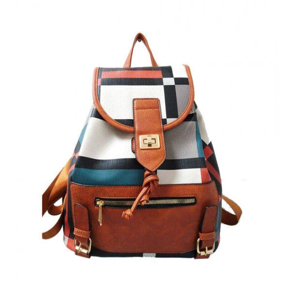 Plaid pattern turn lock backpack - brown