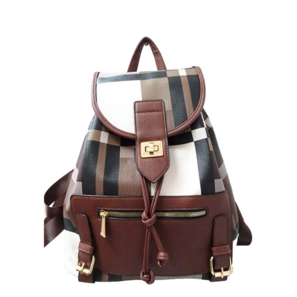Plaid pattern turn lock backpack - coffee