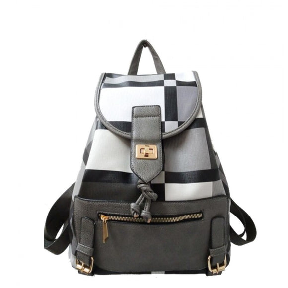 Plaid pattern turn lock backpack - grey