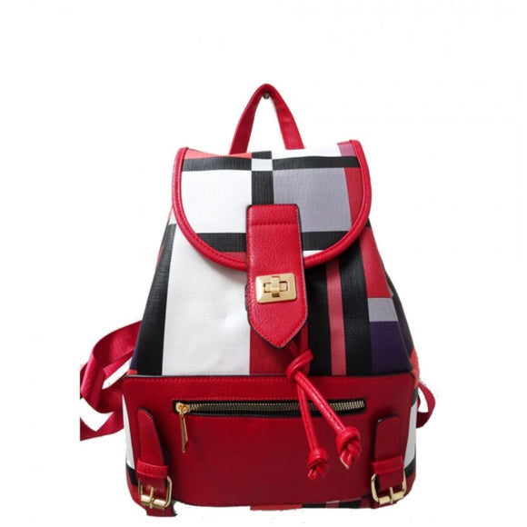 Plaid pattern turn lock backpack - red