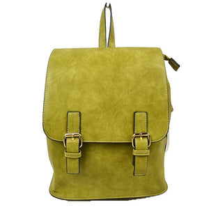 Double belted classic backpack - green