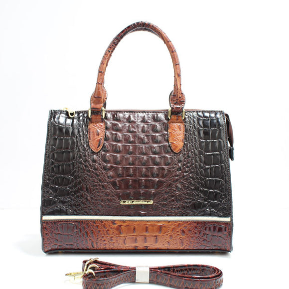 Colorblock crocodile tote - coffee