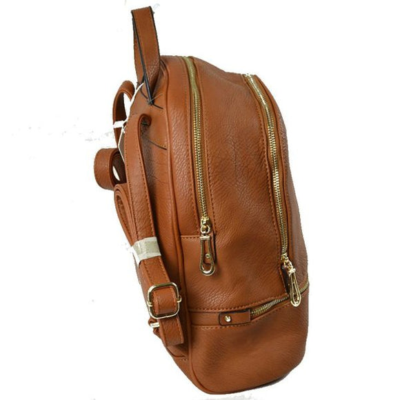 Front zip leather backapack - coffee