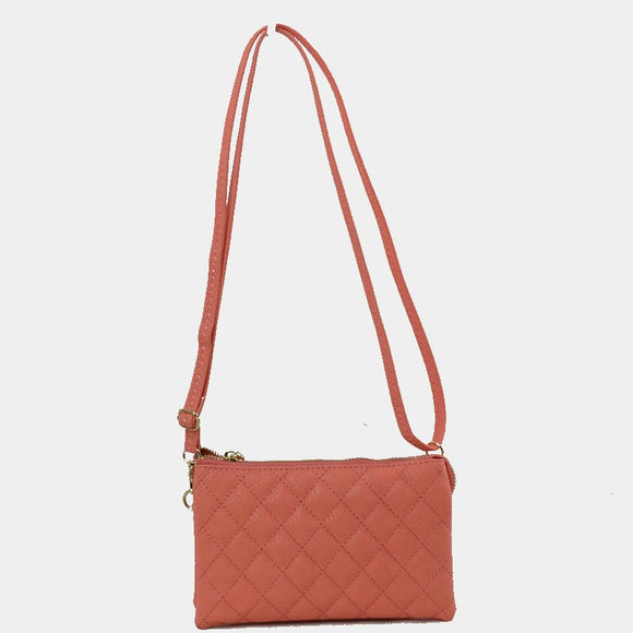Quilted crossbody bag - peach