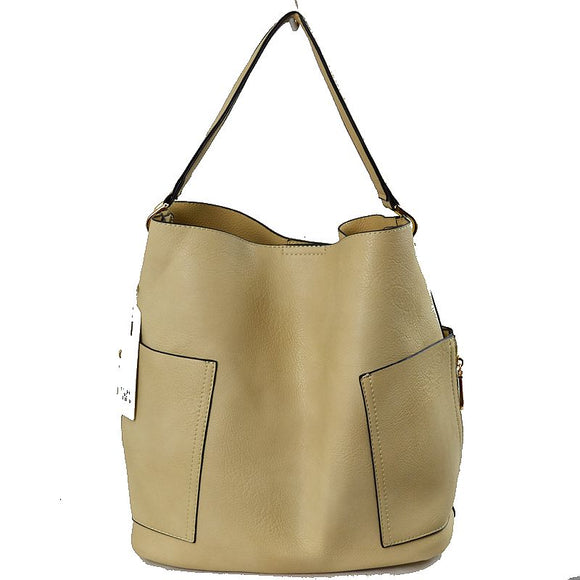 Side pocket hobo bag with pouch - beige