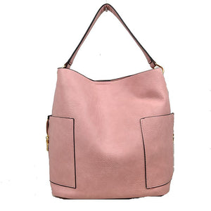 Side pocket hobo bag with pouch - blush