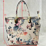 Floral print tote with pouch - black