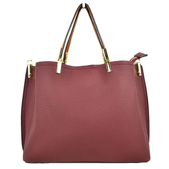 Textured tote - burgundy
