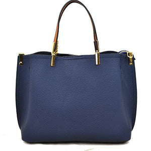 Textured tote - navy blue