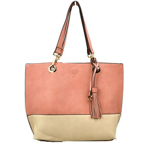 Colorblock tassel tote with pouch - blush offwhite