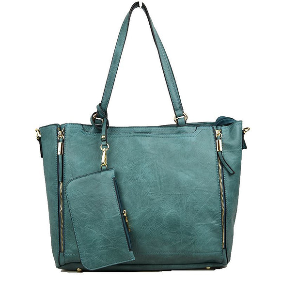 Side zip tote - blue