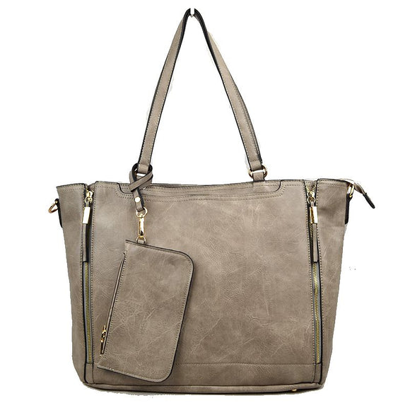 Side zip tote - grey