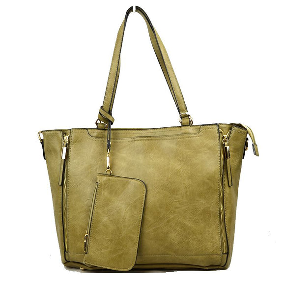 Side zip tote - olive