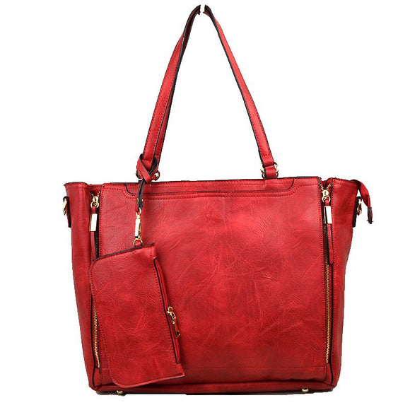 Side zip tote - red