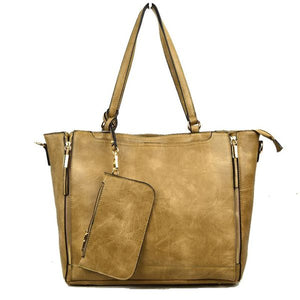 Side zip tote - stone
