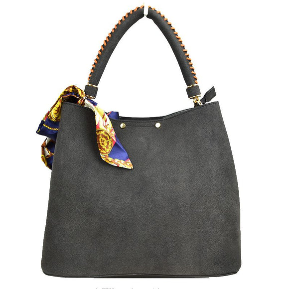 Suede handbag with scarf tie - black