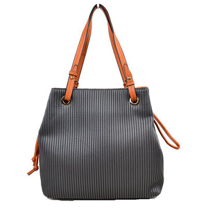 Textured tote - dark grey