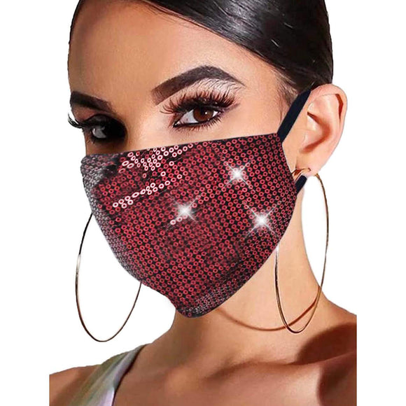 Sequin mask - red
