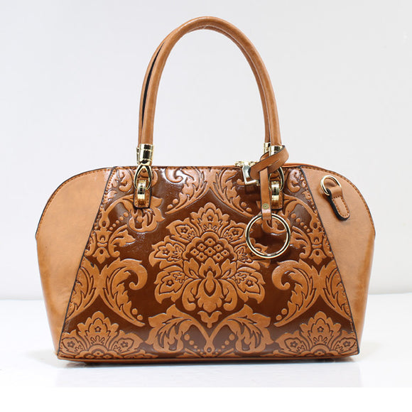 Flower embossed tote - tan