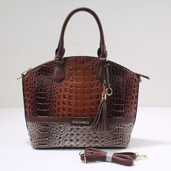 Two tone crocodile tote - brown